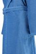 Bathrobe shawl collar hood 100% cotton velour blue lines 115 cm