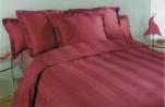 Duvet cover 240x200/220+ pillowcase burgundy wide strips 100%  satin cotton
