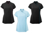 Asymmetric lady's tunic 100% polyester easycare color with color siding