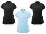 Tunique dame asymétrique 100% polyester easy care couleur et parement