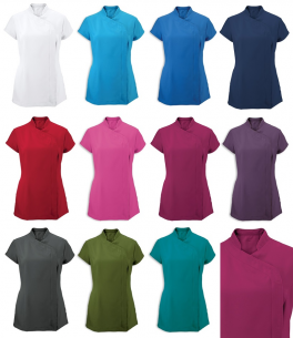 Asymmetric lady's tunic 100% polyester easycare color