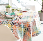 Tablecloth, table runner and placemat 100% cotton pastel geometric shapes