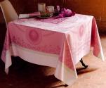 Nappe chemin table set table serviette médaillons papillons roses 100% coton /15