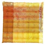Lot de 2 galettes de chaise jaune 1 face enduite et 1 face coton 38x38x3 cm (45)