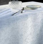 Nappe, chemin table, set table, serviette fleurs blanches 100% coton (32)