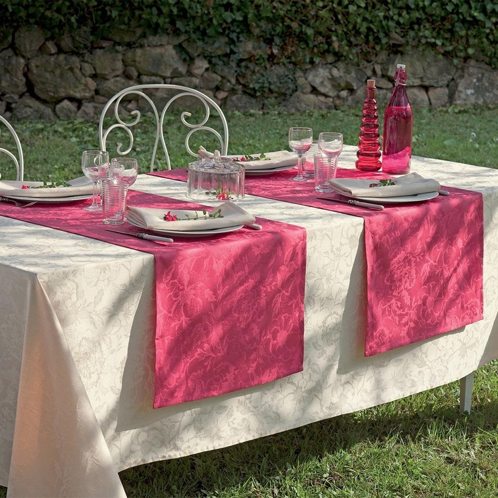 Nappe Chemin Table Set Table Serviette Fleurs Ecru