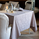 Nappe, chemin table, set table, serviette fleurs taupe 100% coton (38)