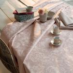 Nappe, chemin table, set table, serviette fleurs rose fumé 100% coton (37)