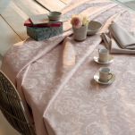 Tablecloth, table runner, placemat, napkin smoky pink flowers 100% cotton