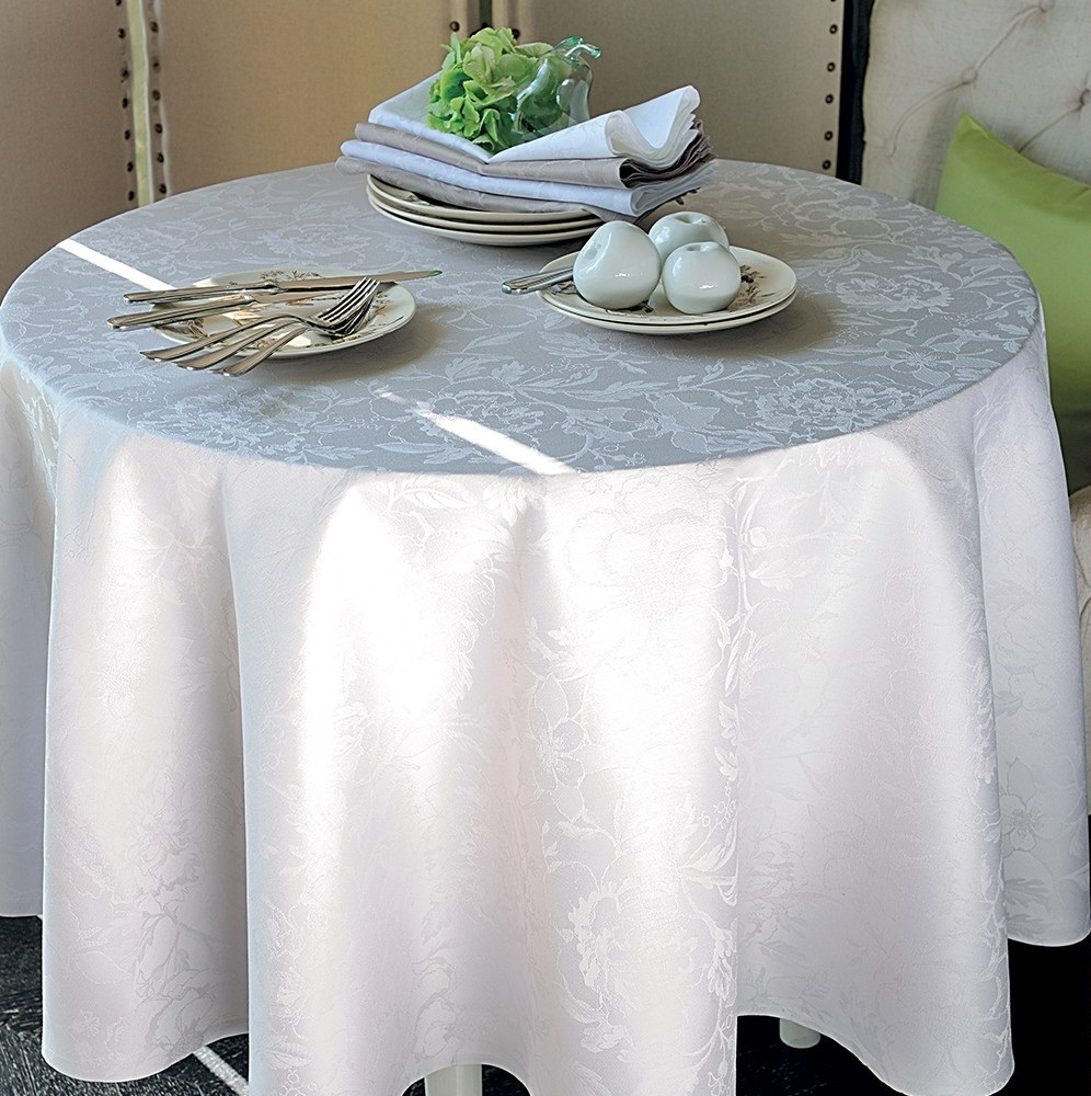 Nappe Chemin Table Set Serviette Nacre Fleurs