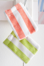 Baby washcloth 9x13 cm 100% cotton terry jacquard velvet striped, 360 gr/m²