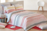 Duvet cover + pillowcase 65x65 100% cotton multicolored lines faded effects