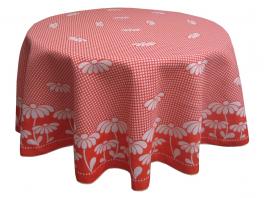 tischdecke rund 160 cm durchmesser 100 baumwolle rote g nsebl mchen. Black Bedroom Furniture Sets. Home Design Ideas