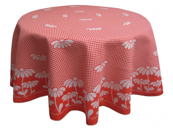 Tischdecke Rund 160 Cm Durchmesser 100% Baumwolle, Rote