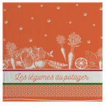 Hand towel 50x50 cm vegetables from the kitchen garden 100% cotton jacquard