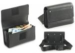 Portefeuille avec monnayeur, velcro, cuir noir, 5 compartiments