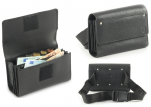 Wallet with monayer/coinbox black leather, scratch, 5 compartments