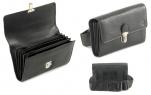 Portefeuille sans monnayeur, glissière, cuir noir, 7 compartiments