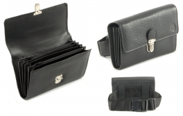 Wallet without monayer/coinbox black leather, clips closure, 7 compartments
