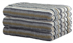 Hand towel 50x100 cm 100% cotton terry multicolored grey lines double sided.
