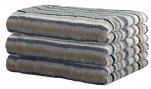 Serviette 50x100 cm 100% coton éponge lignés multicolores gris double face