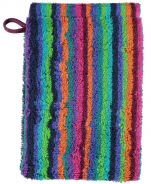 Washcloth 16x22cm 100% cotton terry multicolored lines green double sided