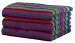Serviette 50x100 cm 100% coton éponge lignés multicolores vert double face