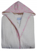 Hooded bathrobe for 4 years old child 100% cotton terry small flowers