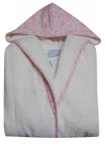 Peignoir pour enfant 4 ans 100% coton éponge + capuche petites fleurs