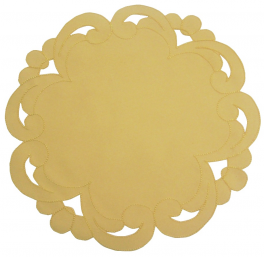 Napperon rond 30 cm diamètre Bernina jaune 100% polyester/satin