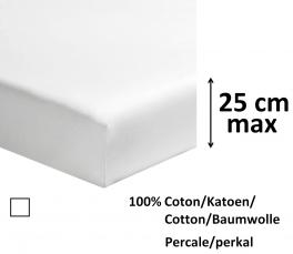 Drap housse 100% coton percale blanc, longeur 200 cm, matelas jusqu'à 25 cm