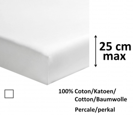 Fitted sheet 100% cotton white percale, length 200 cm, mattress up to 25 cm