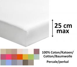 Drap housse 100% coton percale coloris moyen longeur 200cm matelas jusqu'à 25cm