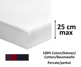 Drap housse 100% coton percale coloris foncé longeur 200cm matelas jusqu'à 25cm