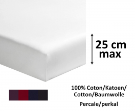 Fitted sheet 100% cotton white percale d. color length 200cm mattress up to 25cm