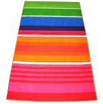 Drap de plage 100x180 cm éponge velours 100% coton lignes multicolores
