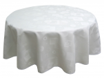 Tablecloth 100% polyester jacquard white geometric shapes washable at 60°C