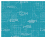 Placemat 40x50 cm 100% cotton mic turquoise background white fish
