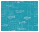 Tafelset 40x50 cm 100% katoen mic turquoise achtergrond witte vis