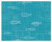 Tischset 40x50 cm 100% Baumwolle mic türkisfarbenen Hintergrund Weißfisch