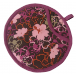 Potholder round purple flowers