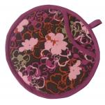 Potholder round purple flowers