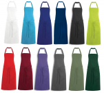 Bib apron 65% polyester 35% cotton, height 92 cm, without pocket, 85°C