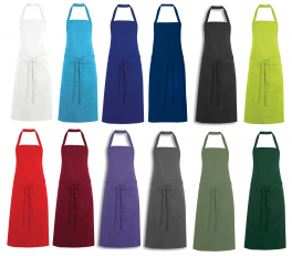 Bib apron 65% polyester 35% cotton, height 92 cm, with pocket, 85°C