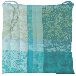 Set of 2 chair cushions, 1 side coated and 1 side cotton, turquoise 38x38x3 cm