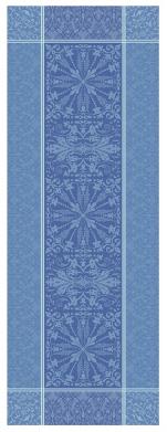 Table runner 54x149 cm 100% blue jacquard cotton, stain resistant treatment