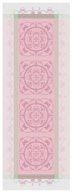 Table runner 54x149 cm 100% pink jacquard cotton, stain resistant treatment