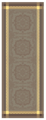 Table runner 54x149 cm 100% brown jacquard cotton, stain resistant treatment