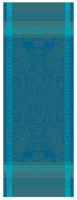 Table runner 54x149 100% blue/turquoise jacquard cotton stain resistant