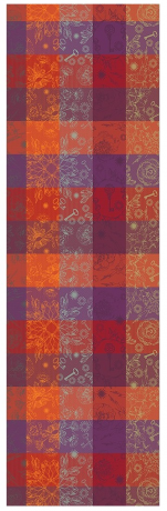 Table runner 55x180 cm100% cotton leaves and keys red/orange/purple/yellow